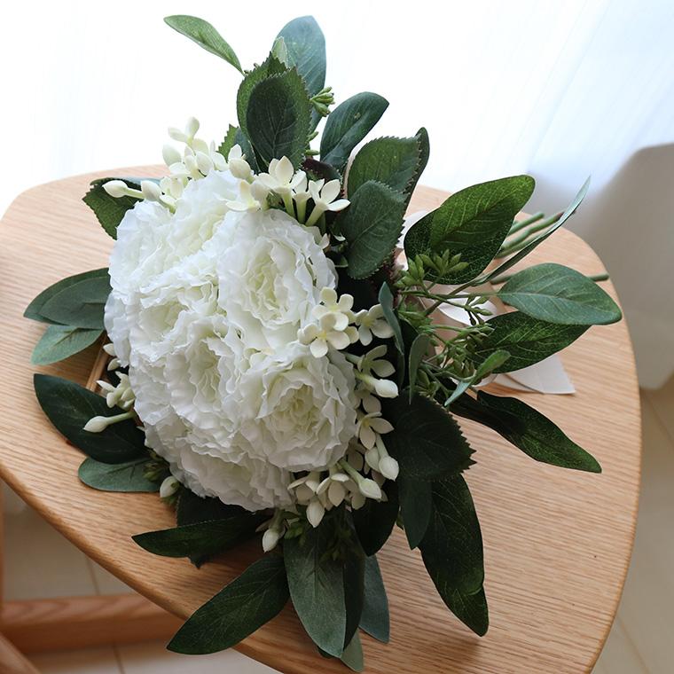 ウエディングブーケ ブーケ ラウンドブーケ 造花 アーティフィシャルフラワー 花束 「ホワイトローズブーケ」
