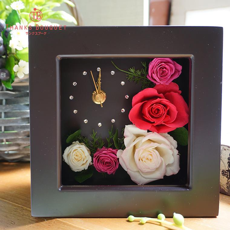 退職祝い プリザーブドフラワー 時計 還暦祝い 60歳 女性 母 おしゃれ プレゼント 花 ギフト プリザーブドフラワー 時計 花 ブリザードフラワー プリザード 母の日 置時計 花 バラ おしゃれ 置き時計「フレームクロック エレガント」