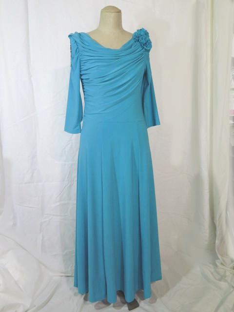ミディ丈のパーティードレス優雅なドレープとシルエットきれい色のアンクルミディ流れるライン足元のおしゃれも映える発表会・ダンス・ステージドレス