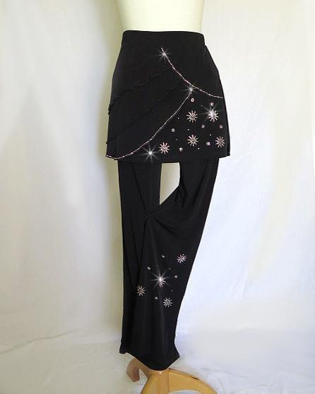 オーバースカート付きパンツ美脚パンツで優雅に装うグリッターキラキラパーティーフォーマルOK!ダンスやステージにも!