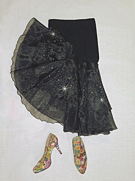 天使のスカート マーメイドフレアのミディきらめき小花グリッター優雅で可憐組み合わせしやすいフリーウェストで楽々アレンジパーティー・ダンス・ステージ衣装