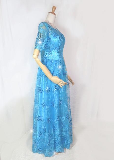 花モチーフのスパンコールきらめくロングドレス輝くオーガンジーレースがゴージャスヨーロピアンスタイルのエンブロイダリーパーティードレス・発表会・ステージ カラオケ衣装オーシャンブルーのトパーズドレス