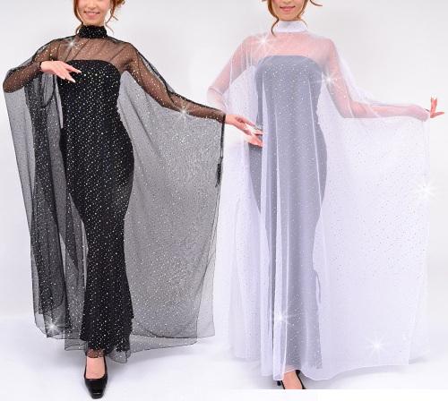軽やかチュールレースグリッター輝くカバードレスロングドレスに重ねて優雅に装う艶やかステージドレス♪ライトに輝くシースルーオーバードレス発表会・コンサート・カラオケに最適!