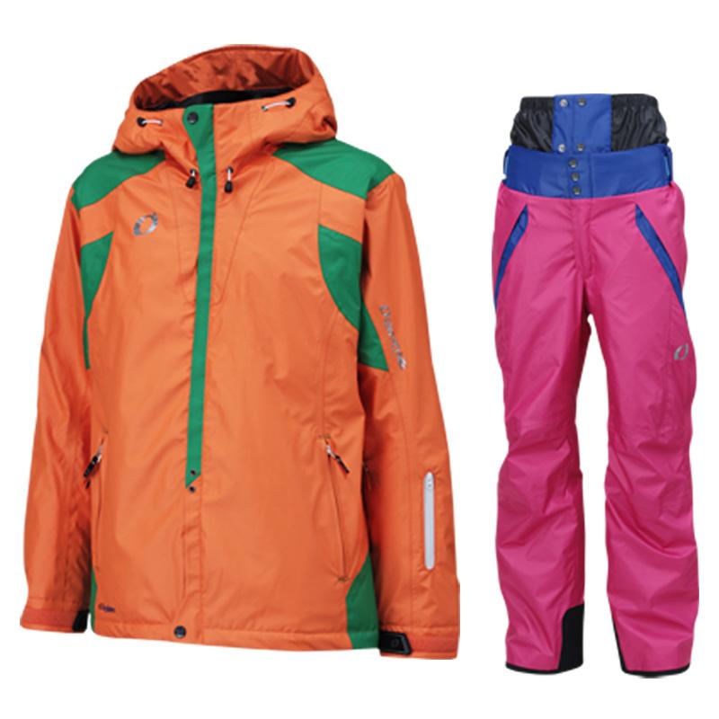 メンズ レディース スキーウェア上下セット on97510-97550 114x954(ORANGExMAGENTA)