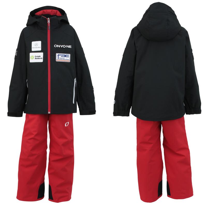 ONYONE(オンヨネ) ジュニア 上下セット スキーウェア Jr.ANDORRA SIDEOPEN SUIT レプリカモデル ONS703S2 009055(BLACK×RED) 130 140 150 160 袖丈の調節可能
