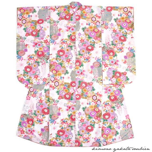 祝着 白 ホワイト 花 桜 7歳 七五三 着物 仕立て上がり 【送料無料】【あす楽対応】