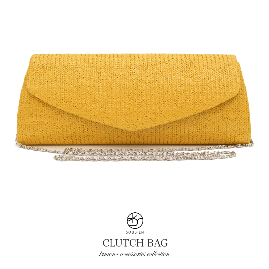 Bag Straw Yellow Bright Golden Single Color 2way Shoulder Clutch Handbag Resort Back Casual Anese Western Style