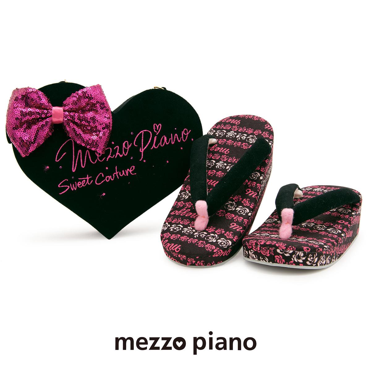草履バッグセット 七五三 Mezzo Piano(メゾピアノ) ピンク 黒 ブラック ハート リボン スパンコール ラインストーン ラメ 7歳 7才 和装小物 キッズ 女の子 日本製【あす楽対応】【送料無料】