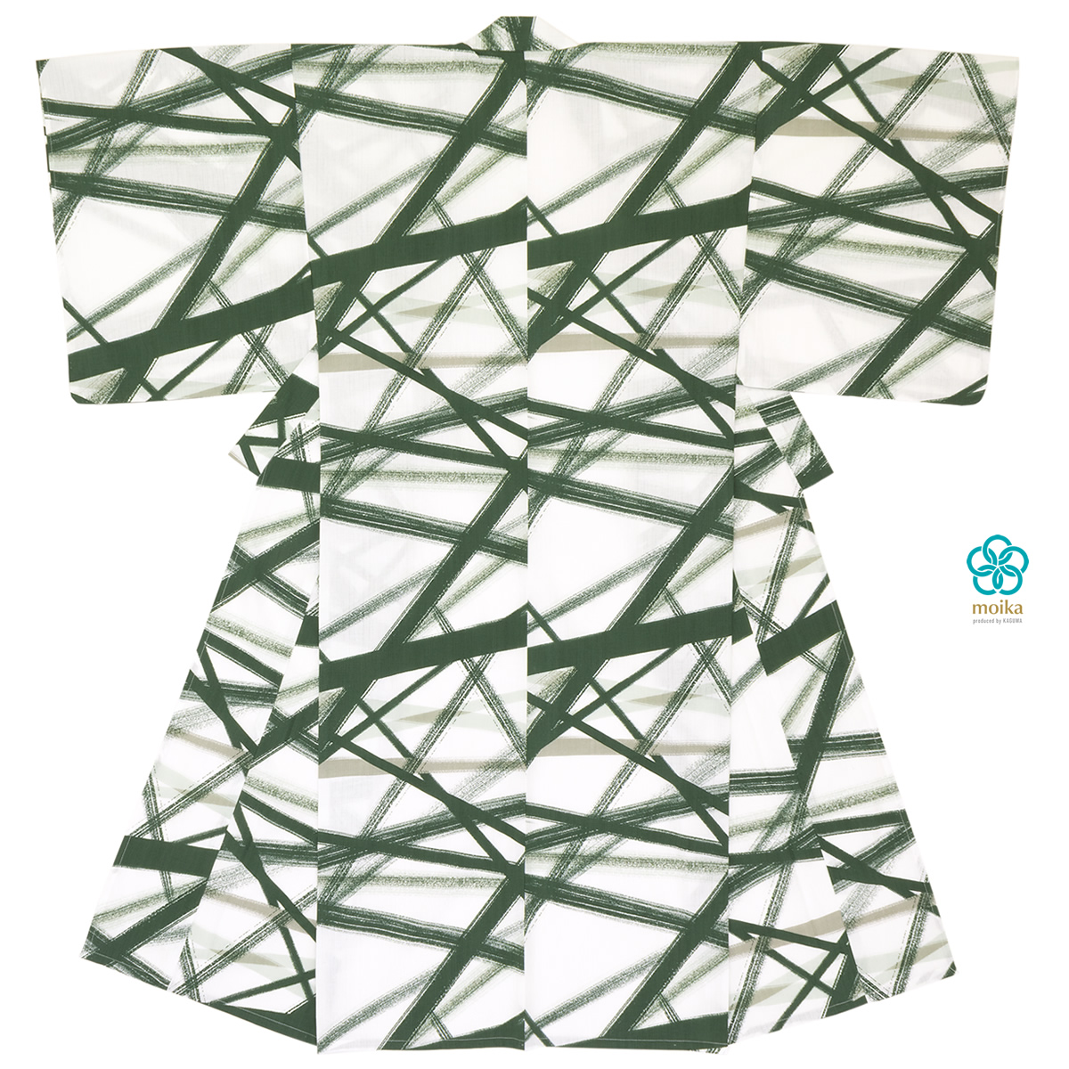 浴衣 メンズ レトロ moika 単品 男性 大人 緑系 グリーン 白 墨 線 幾何学 モダン 綿 変わり織り 夏祭り 花火大会 仕立て上がり【あす楽対応】【Mサイズ】【Lサイズ】【送料無料】