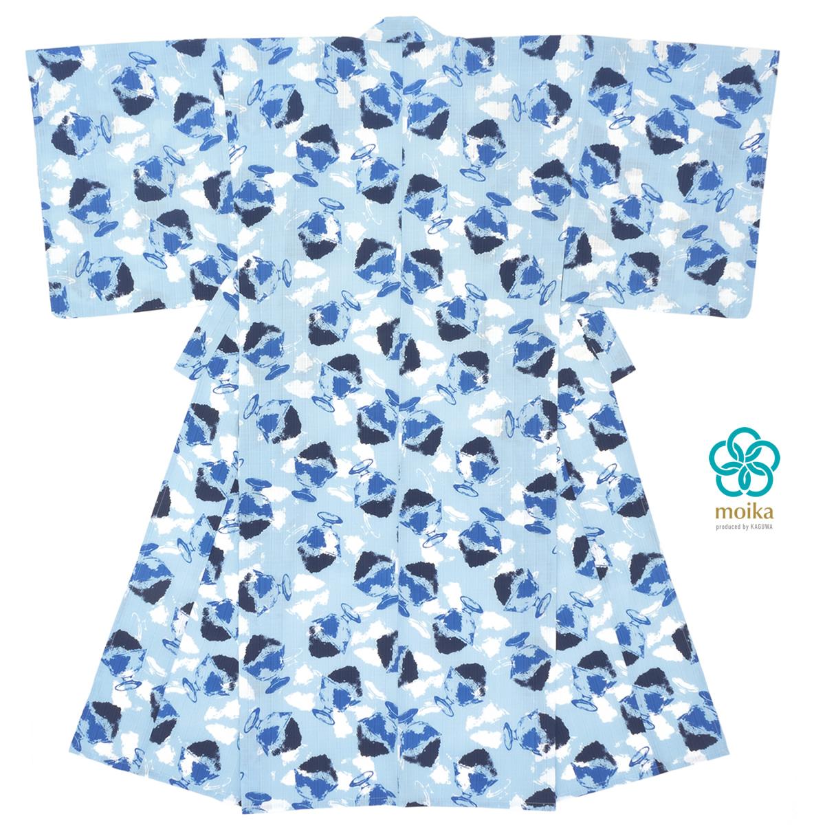 浴衣 メンズ レトロ moika 単品 男性 大人 水色 青 かき氷 綿 変わり織り 夏祭り 花火大会 仕立て上がり【あす楽対応】【Mサイズ】【Lサイズ】【送料無料】
