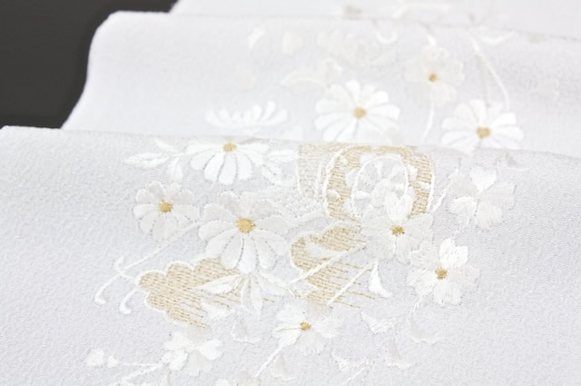 Han-ERI-collar white a court carriage embroidery made in Japan crepe Amiel Teijin material the use