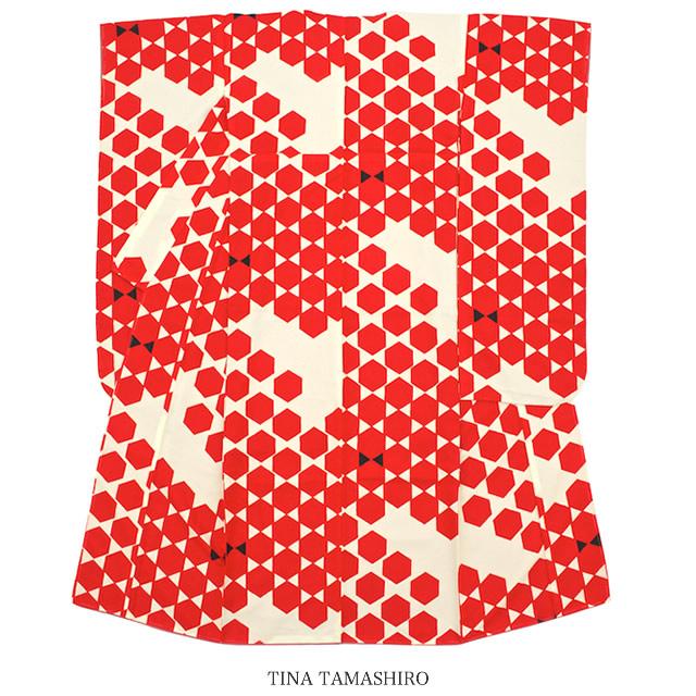 振袖 ブランド 玉城ティナ キスミス アイボリー 赤 レッド 亀甲 小紋振袖 振り袖 成人式 結婚式 レディース 仕立て上がり 【送料無料】【あす楽対応】
