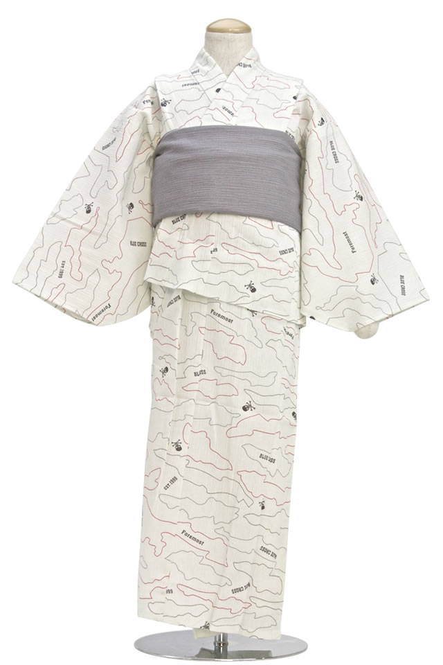 To heko kids brand Blue Cross Blue Cross grey wrinkle processing boys this yukata belt