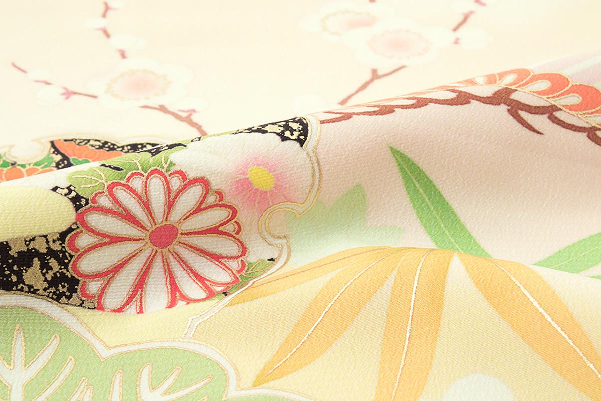 訪問着 ブランド JAPAN STYLE(ジャパンスタイル) 薄黄色 クリームイエロー カラフル 松竹梅 宝づくし 雲取り 雪輪 ぼかし 礼装 フォーマル 仕立て上がり【あす楽対応】