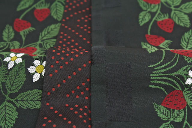 Product made in brand ひさかたろまん black strawberry Wilde strawberry yukata zone half width zone Japan for pongee for half-breadth sash fine patterns