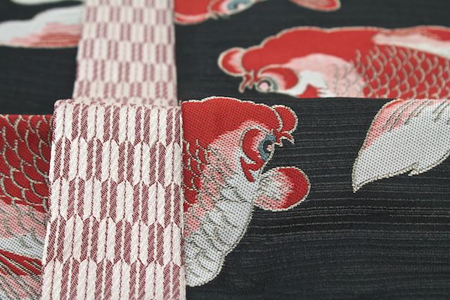 OBI brand-safe tips are how to kimono kimono Roman black red goldfish arrow vanes 半巾 band Japan made of washable washable