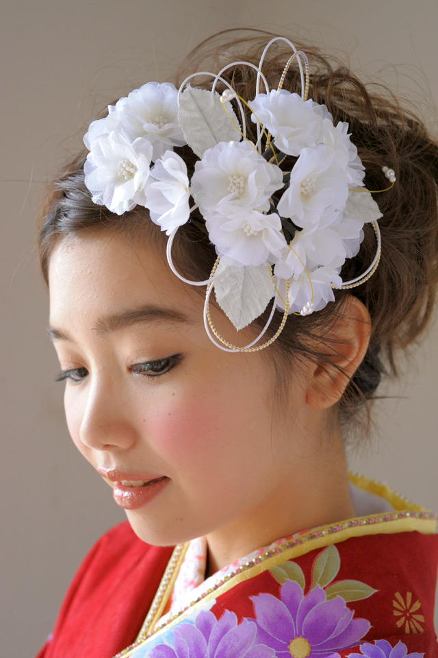 Ornament 2 point set quinceañera furisode graduation hakama hakama cherry braid flower Pearl flower white hair accessories Barrette kimonos furisode soupswill chef Hat