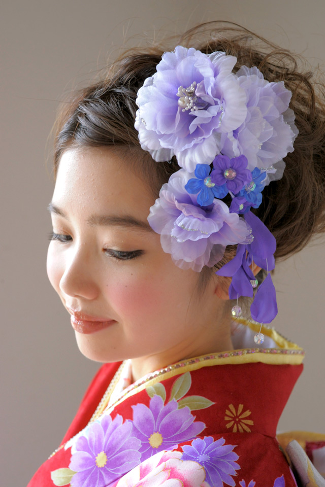 I wave two points of hair ornament set coming-of-age ceremony long-sleeved kimono graduation ceremony hakama petticoat flower rhinestone pearl lam organdy purple wedding ceremony kimono hairpin hair accessories and display sleeve hair