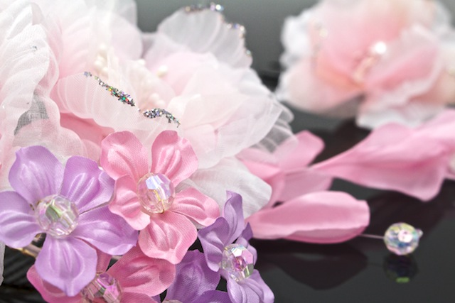 Ornament 2 point set Quinceanera furisode graduation hakama flower rhinestone Pearl lame organdy pink wedding party dresses wedding hair pin