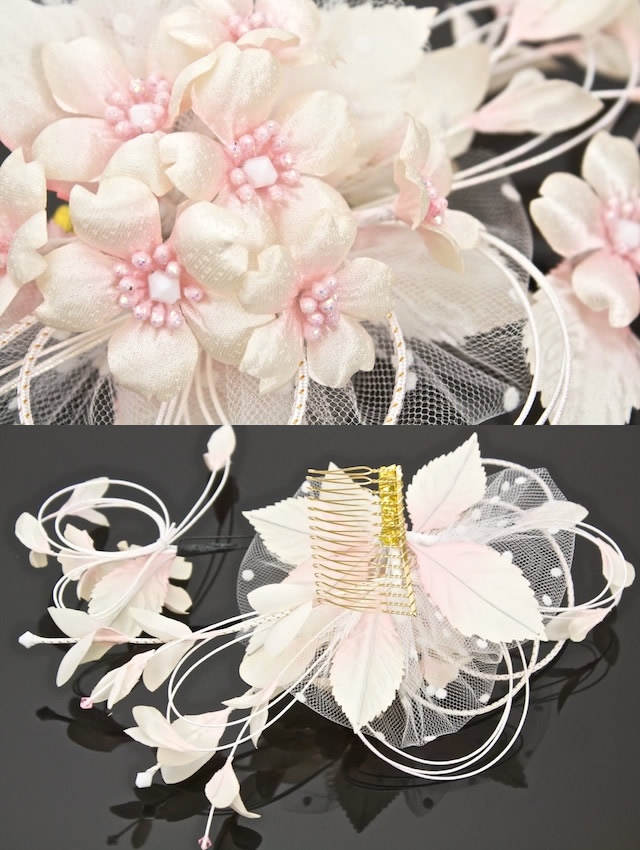 Ornament 2 point set hair accessories quinceañera furisode graduation cherry pink ivory race made in Japan flower flower hair pinned hair hair guard