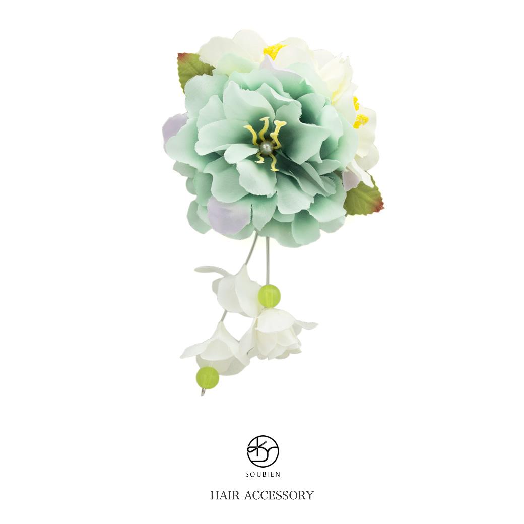 f5ead8848 Hair accessories for hair ornament light green light green white white  flower fake pearl flower ぶら ...