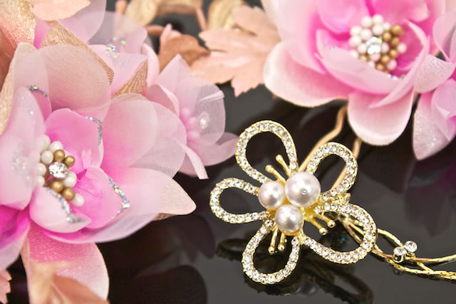 Ornament 3 point set ceremony kimono graduation hakama hakama pink gold flower Barrette hair accessories hairpin pins new year clothes ones wedding dress trusting soupswill chef Hat