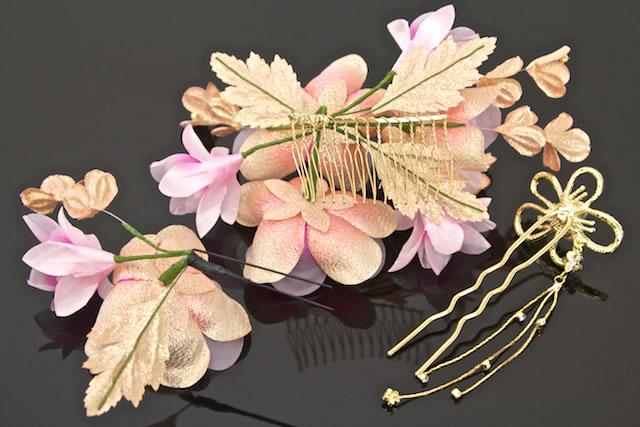 3分頭飾安排成人儀式長袖和服畢業典禮褲裙かま粉紅色黄金花發夾毛附件簪子簪子編正月和服結婚典禮禮服,并且用そ裝飾頭發