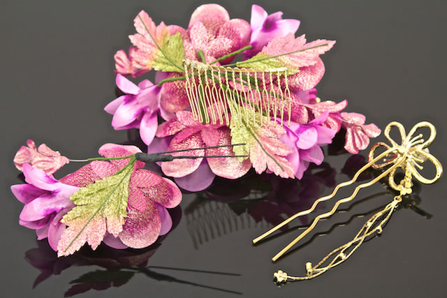 I wave kimono hairpin hair accessories for three points of hair ornament set coming-of-age ceremony long-sleeved kimono graduation ceremony hakama petticoat wedding ceremony magenta gold floral hairpin ornamental hairpins New Year holidays and display sl
