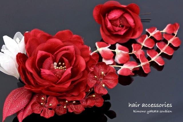 Ornament 2 points set coming of age ceremony kimono graduation hakama SOBI-en original red flowers hair pinned hair accessories