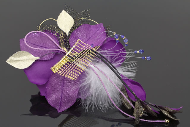Ornament coming of age ceremony kimono graduation hakama hakama hair big rose purple black fur Santa Hat wedding kimono dress kimono kimono wedding trusting hair clamp accessories
