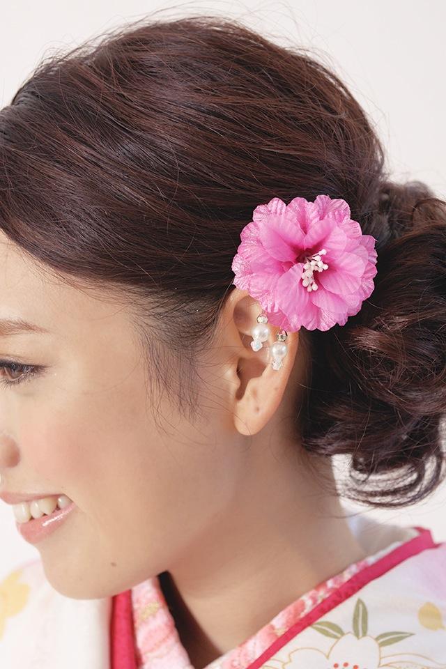 Ornament 2 points set ceremony kimono graduation hakama hakama pink Bordeaux flower flower lame race parkers hair pin hair flower hair accessories furisode