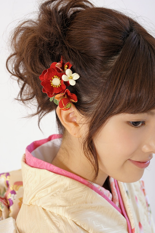 Ornament 2 points set coming of age ceremony kimono graduation hakama hakama Barrette red flowers flower Japanese pattern Ribbon parkers hair accessories kimonos furisode Santa Hat