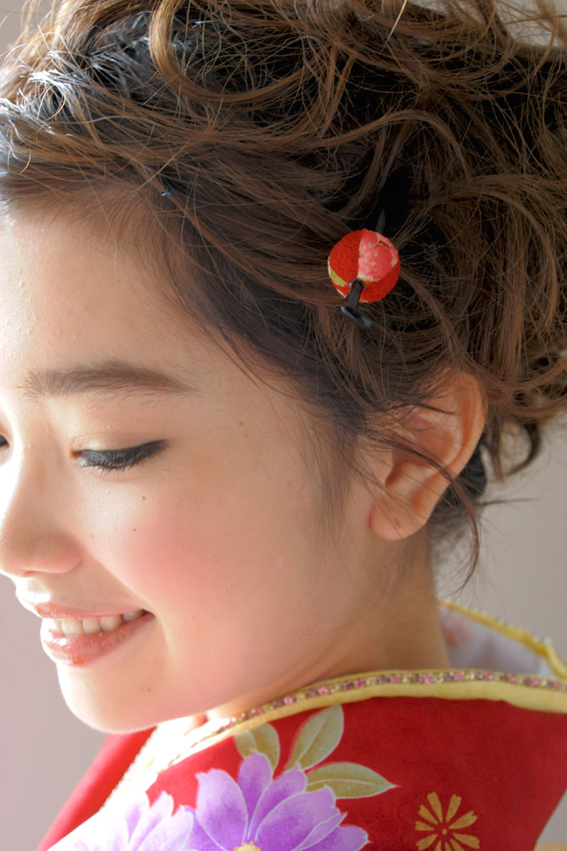 Ornament coming of age ceremony kimono graduation hakama hakama wedding for Santa Hat Red Japanese pattern braid flower trusting kanzashi kanzashi