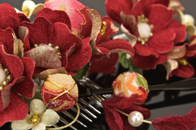 Ornament 3 point set red floral flower Japanese pattern Ribbon parkers quinceañera
