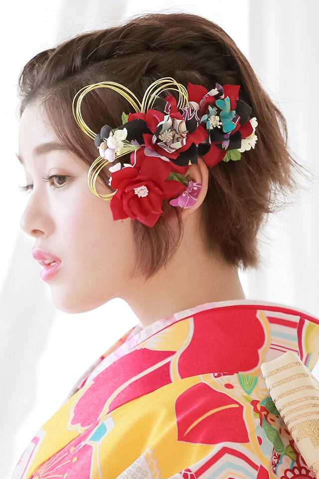 Soubien Ornament Two Points Set Red Black Flower Mizuhiki Ribbon