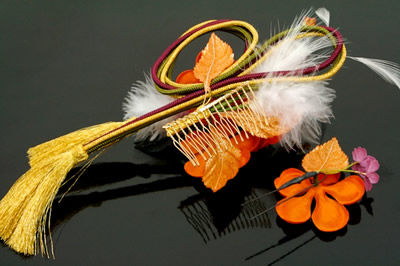 Ornament 2 point set coming of age ceremony kimono hakama is still orange flower braids fur kimono hair accessories trusting hair pinned hair