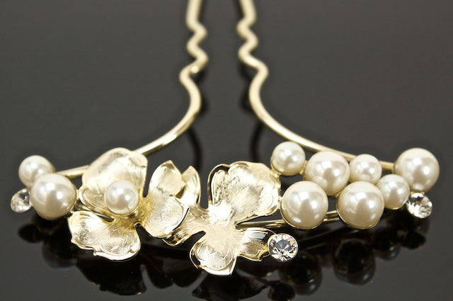 Drumsticks-kanzashi for visiting color for tomesode dress pins gold Pearl bijoux leaves formal dress party ornament