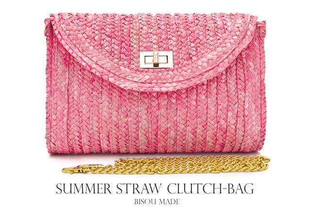 包稻草袋粉紅色的玫瑰 3 方式袋離合器袋手提包度假村休閒日本少林寺