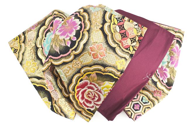 Fukuro for long-sleeved dress for visiting color tomesode for liquor atoji proprietary Black Rose Cherry turtle Nishijin-Ori weaving still tailoring