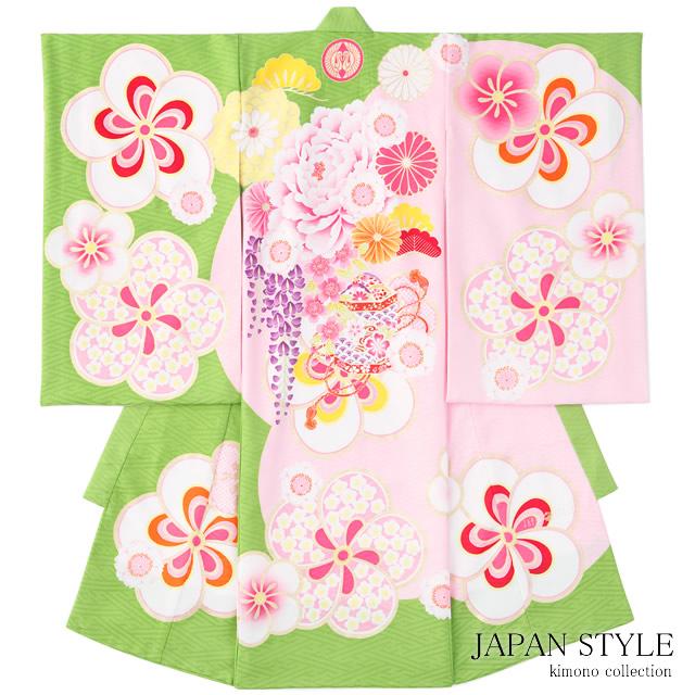 初着 産着 黄緑 梅 花 ブランド JAPAN STYLE ジャパンスタイル 女の子 女児 祝着 熨斗目 お宮参り【送料無料】