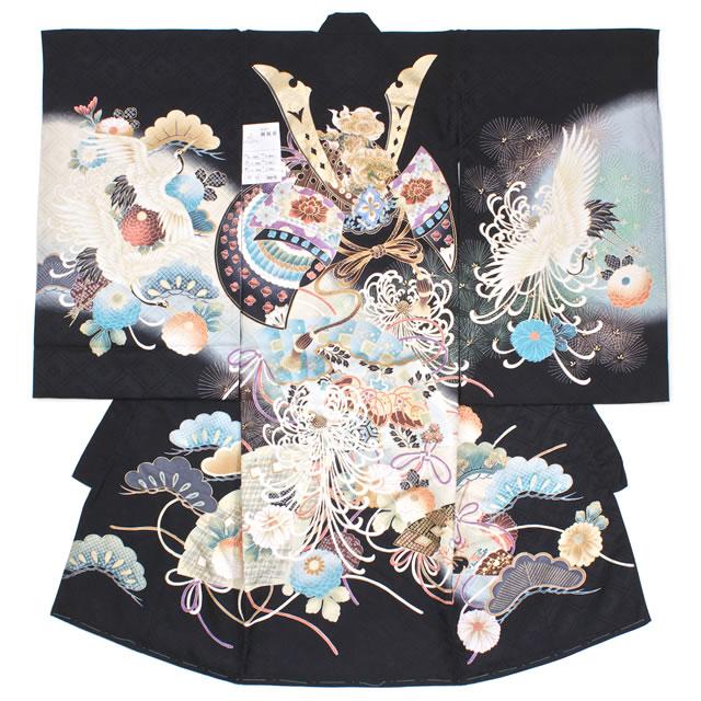 初着 黒 兜 正絹 刺繍 染め 祝い紋 紋入れ 産着 男の子 男児 祝着 お宮参り 【送料無料】