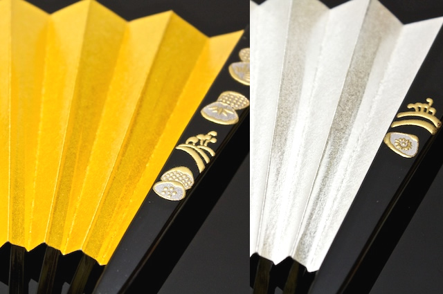 Shellfish fan gold and silver for weddings for matrimonial wedding wedding reception tomesode houmongi kimono kimono Suehiro-fan