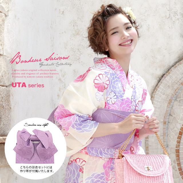 Obi yukata set adult three points set white white pink purple chrysanthemum  camellia lam cotton woman ボヌールセゾン S-free made with a yukata
