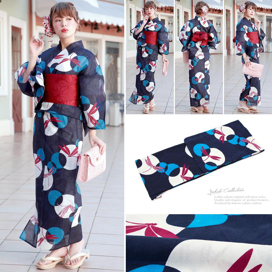Yukata Set Obi Geta Yukata Bonheur Saisons Navy Navy Dragonfly Dragonfly Cotton Leno Fireworks Tournament Summer Yukata Set Yukata Women Ladies