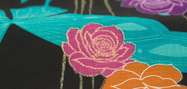 Yukata ladies yukata Dancewear Fireworks competition Festival bonheur saisons ( ボヌールセゾン ) EXTEND black white turquoise Purple Rose Butterfly lame cotton ladies yukata
