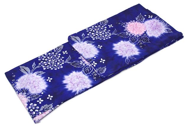 여성 유카 타 브랜드 bonheur saisons (ボヌールセゾン) 파랑 블루 紫陽花 수 국 새끼 사슴 무늬 꽃 절름발이 면 빨 여름 축제 불꽃놀이 여성용 재 상승