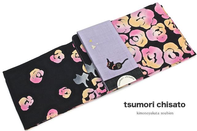 レディース浴衣 ブランド tsumori chisato ツモリチサト 黒 ブラック ばらとねこ 猫 綿 注染 【女性浴衣 女性 レディース浴衣 黒・グレー系】【送料無料】【あす楽対応】