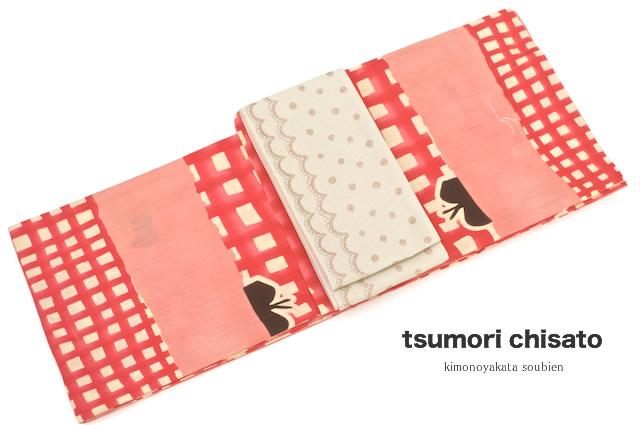 浴衣 レディース浴衣 花火大会 夏祭り ブランド tsumori chisato 赤 チェック 猫 リンゴ 注染 女性浴衣【フリーサイズ】【女性浴衣 赤系】【あす楽対応】