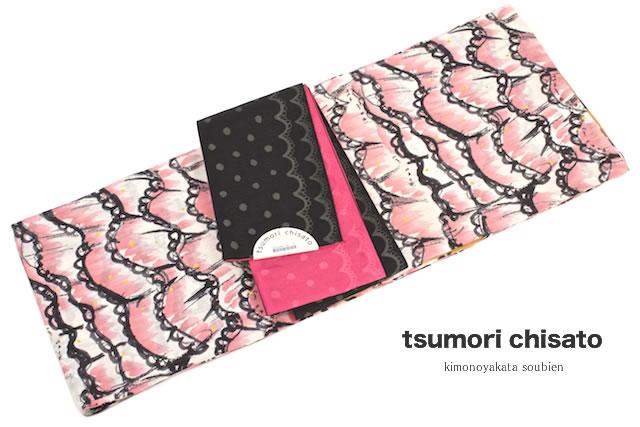浴衣 レディース浴衣 花火大会 夏祭り ブランド tsumori chisato ピンク レース 手描き風 注染 女性浴衣【フリーサイズ】【送料無料】【女性浴衣 ピンク系】【あす楽対応】