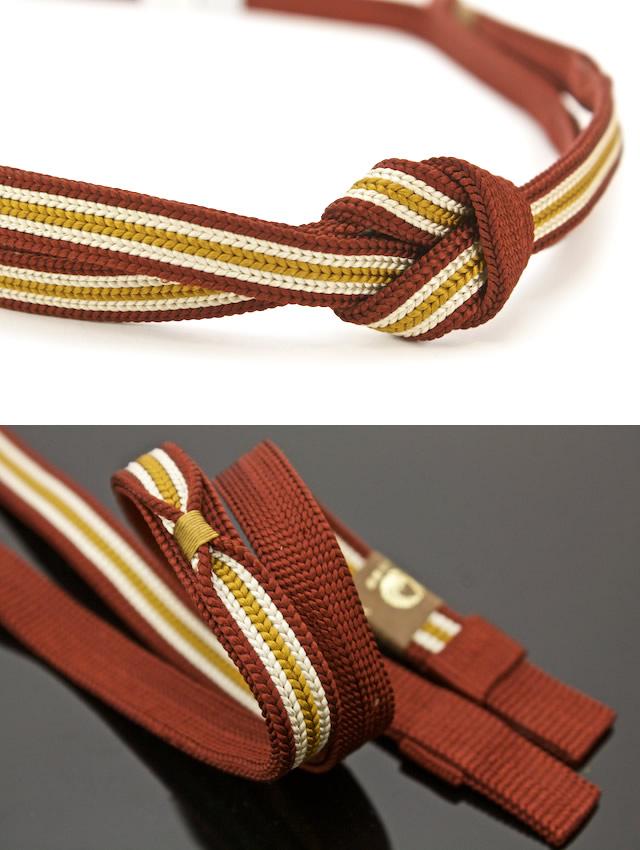 Saburo Fuji carefully made intangible cultural asset pure silk fabrics are casual for the obi cord crimson X mustard fourth generation